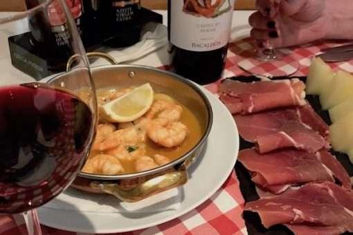 garlic shrimp ham and melon with wine lisbon portugal